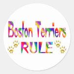 Regla de los terrieres de Boston Pegatinas Redondas