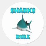 Regla de los tiburones etiqueta redonda