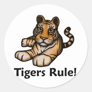 ¡Regla de los tigres! Pegatina Redonda