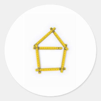 regla de plegamiento - forma de la casa etiquetas redondas