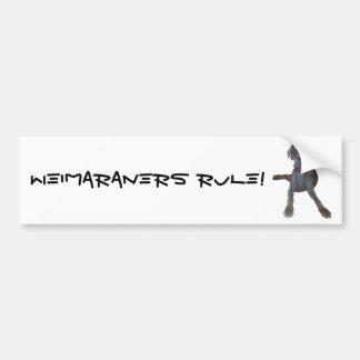 ¡Regla de Weimaraners! Pegatina Para Auto