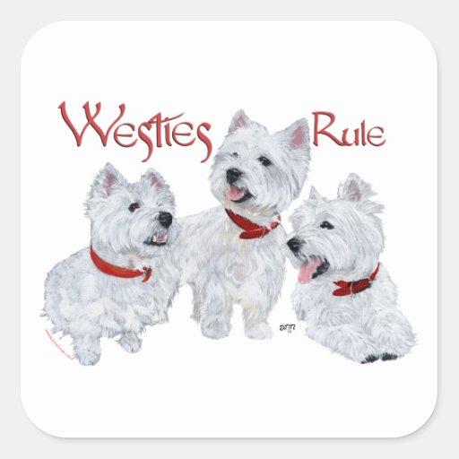 ¡Regla de Westies! Pegatina Cuadrada