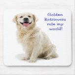 Regla del perrito del golden retriever mi mundo Mo Tapetes De Ratón