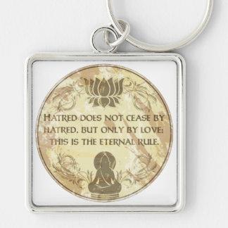 Regla eterna de Buda Llavero Cuadrado Plateado
