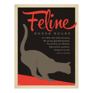 Regla felina de la casa tarjetas postales