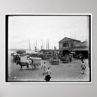 Regla ferry, Plaza de Luz, Havana c1900 Vintage Poster