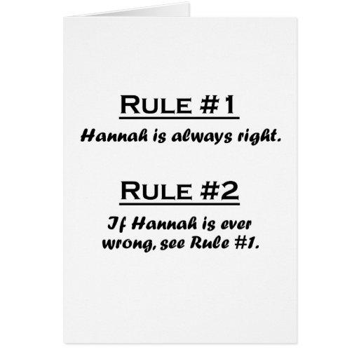 Regla Hannah Tarjeta