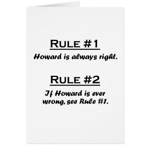 Regla Howard Tarjeta