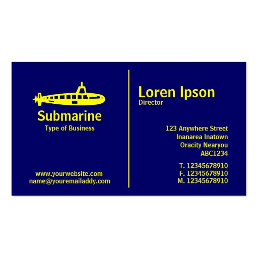 Regla media amarilla - submarino - azul marino tarjetas de visita