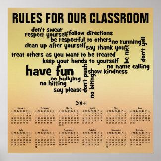Regla para nuestro calendario de la sala de clase  impresiones