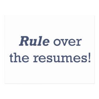 ¡Regla sobre los curriculums vitae! Postales