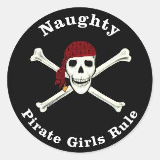 ¡Regla traviesa de los chicas del pirata! Pegatina Redonda