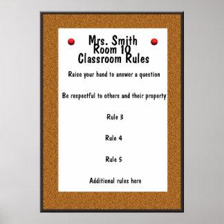 Reglas ADAPTABLES de la sala de clase del tablón d Póster