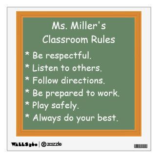 Reglas adaptables de la sala de clase vinilo decorativo