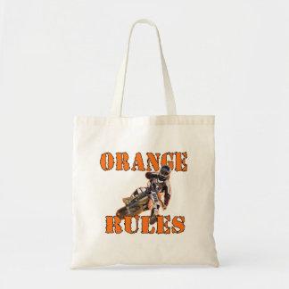 Reglas anaranjadas bolsa tela barata