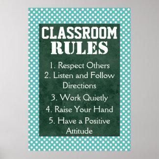 Reglas azules y blancas de la sala de clase de los póster