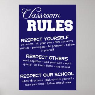 Reglas azules y blancas de la sala de clase póster
