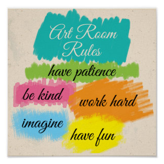 Reglas coloridas de la sala de clase del arte póster