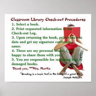Reglas de biblioteca de sala de clase póster