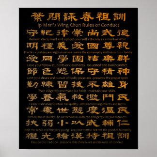 Reglas de Chun del ala del hombre del IP de Póster