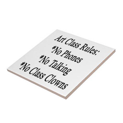 Reglas de clase de arte ningunos teléfono no habla tejas  cerámicas
