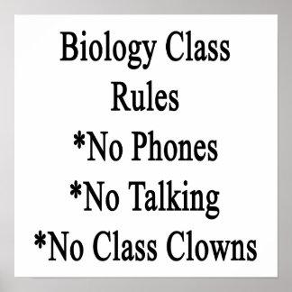 Reglas de clase de Biología ningunos teléfono no h Póster