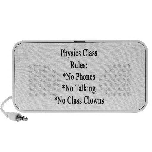 Reglas de clase de la física ningunos teléfono no  iPod altavoces