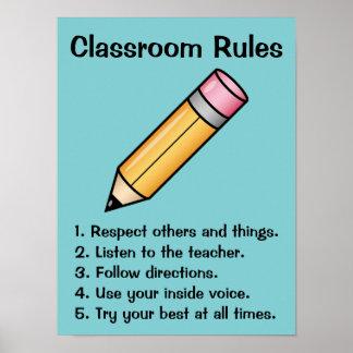 Reglas de encargo de la sala de clase del lápiz póster