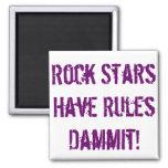 Reglas de imán de las estrellas del rock