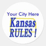 ¡Reglas de Kansas! Etiqueta Redonda