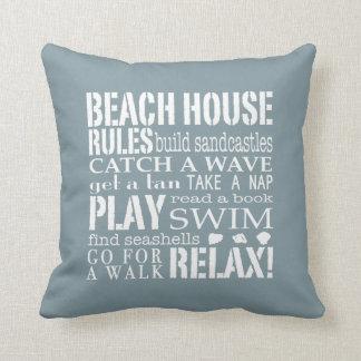 Reglas de la casa de playa en almohada cuadrada az