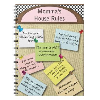 Reglas de la casa divertida cuaderno