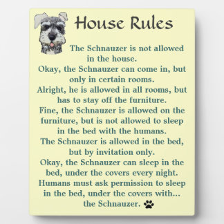 Reglas de la casa para los Schnauzers Placa Para Mostrar