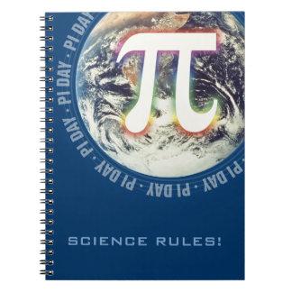 ¡Reglas de la ciencia! - Número del pi que brilla  Libretas Espirales