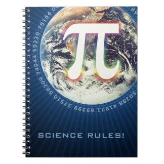 ¡Reglas de la ciencia! - Número del pi que brilla  Libros De Apuntes Con Espiral