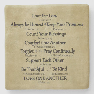 Reglas de la familia del verso de la biblia posavasos de piedra