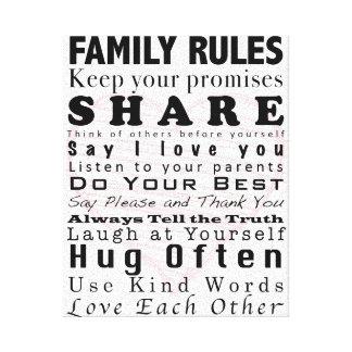 Reglas de la familia impresión en lona