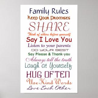 Reglas de la familia para el poster del amor y de