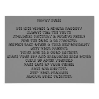 Reglas de la familia póster