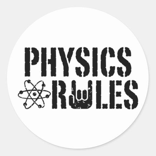 Reglas de la física pegatina redonda