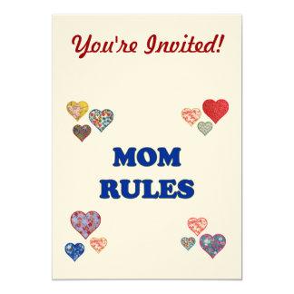 """Reglas de la mamá invitación 5"""" x 7"""""""