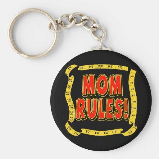 Reglas de la mamá llavero redondo tipo pin