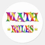 Reglas de la matemáticas etiqueta redonda