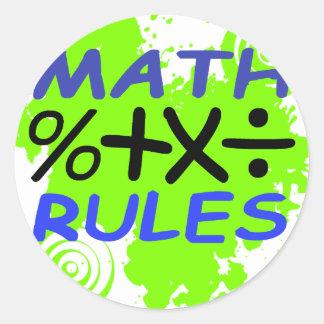 Reglas de la matemáticas pegatina redonda