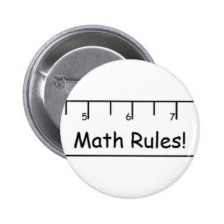 ¡Reglas de la matemáticas! Pin Redondo De 2 Pulgadas