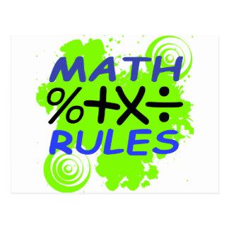 Reglas de la matemáticas tarjetas postales