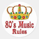reglas de la música 80s etiquetas redondas