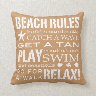Reglas de la playa del beige y del Brown de Sandy  Almohadas