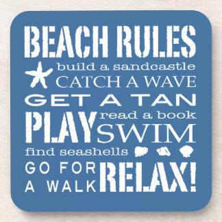 Reglas de la playa por el el azul náutico de la co posavaso