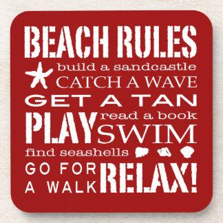 Reglas de la playa por el el rojo intrépido de la  posavasos de bebidas